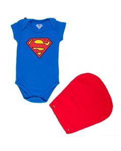 Body de Bebê Super Homem + Capa Dc Comics Cobalto
