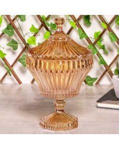 Bomboniere de Cristal com Pé Renaissance Lyor - Ambar