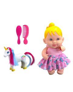 Boneca Babies com Unicórnio 852 Bee Toys - Rosa