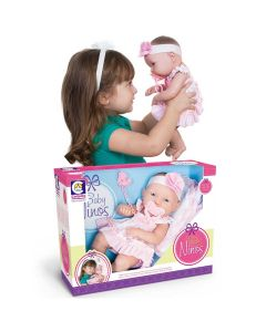 Boneca Baby Ninos Recém Nascido Cotiplás - Rosa
