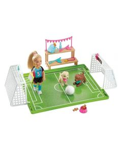 Boneca Barbie Aventura Chelsea Futebol com Cachorrinhos Mattel - GHK37