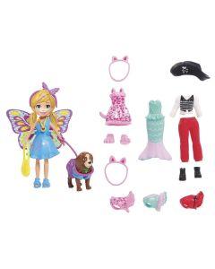 Boneca Polly Pocket Cachorro Com Fantasia Gdm15 Mattel - Colorido