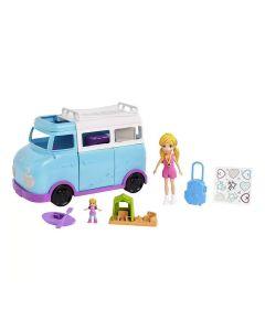 Boneca Polly Pocket Glamorosa Van de Campismo FTP74 Mattel - Azul