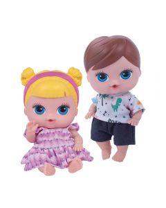 Bonecos Gêmeos Mini Menino e Menina Super Toys - 380