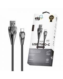 Cabo Emborrachado ALC 1 Metro USB Tipo-C ELG - Cinza