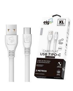 Cabo Flat USB Tipo-C 2 Metros ELMC20WH ELG - Branco