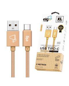 Cabo USB Tipo-C em Nylon TC20BG ELG - Dourado