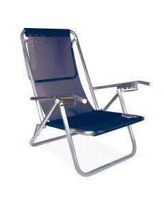 Cadeira Reclinável 5 Posições Alumínio Plus Mor - Azul