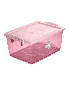Caixa Organizadora com Travas 7,5 Litros Ordene - Rosa