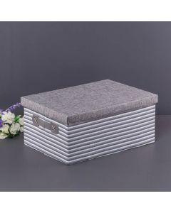 Caixa Organizadora de Tecido 32x23x15cm Finecasa - Cinza