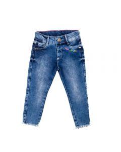Calça de 1 a 3 Anos Jeans Bordado Yoyo Kids