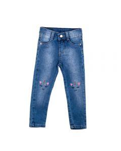 Calça de 1 a 3 Anos Jeans com Bordado Yoyo Kids Azul
