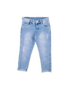 Calça de 1 a 3 Anos Jeans com Pérolas Yoyo Kids Azul