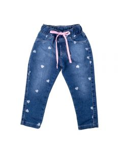 Calça de 1 a 3 Anos Jeans Corações Yoyo Kids Azul