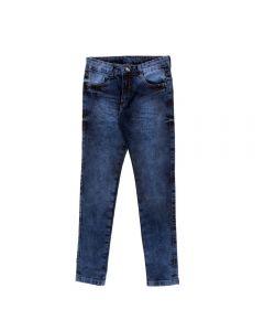 Calça de 4 a 10 Anos Jeans com Bigode 3D Hot Dog Azul
