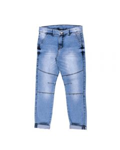 Calça de 4 a 10 Anos Jeans com Bordado Hot Dog Azul