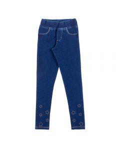 Calça de 4 a 10 Anos Jegging com Bordado Marmelada Azul