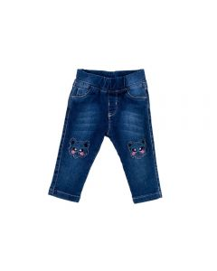 Calça de Bebê Jegging Bordado Gato Yoyo Baby Jeans
