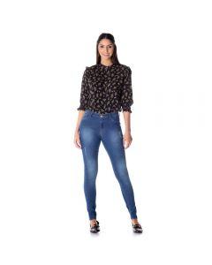 Calça Feminina Jeans Skinny com Used e Puídos Patrícia Foster