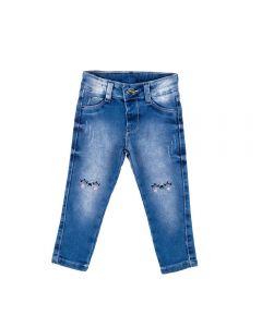 Calça 1 a 3 Anos Jeans com Bordado da Yoyo Kids