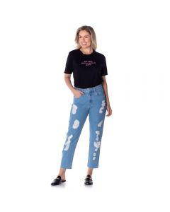 Calça Jeans Boyfriend Rasgos Boby Blues Blue
