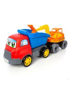 Caminhão com Escavadeira Turbo Truck e Retro Maral - 4163