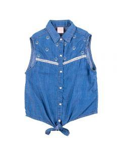 Camisa de 4 a 10 Anos Jeans com Bordado Marmelada