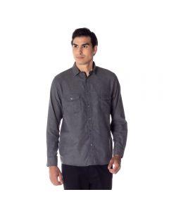 Camisa Masculina Adulto Flanela com Lapela Thing Preto Liso