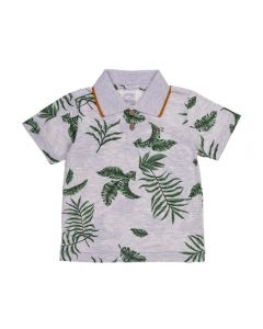 Camisa Polo de 1 a 3 Anos Folhas Alakazoo Mescla Claro
