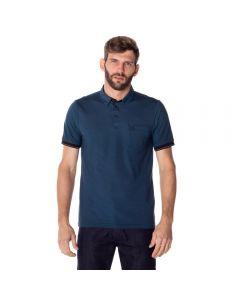 Camisa Polo Masculina Madrid com Bolso Marc Alain Azul