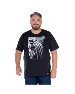 Camiseta com Estampa Frontal Plus Colisão Chumbo