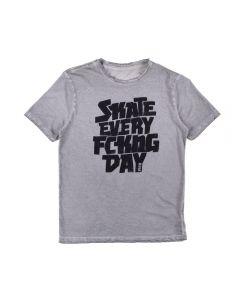 Camiseta de 12 a 16 Anos Skate Fico Cinza