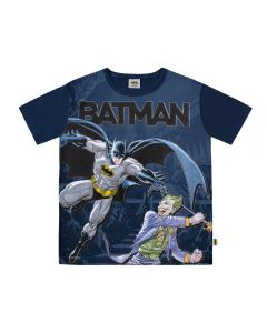 Camiseta de 4 a 10 Anos Batman e Coringa Dc Comics Marinho