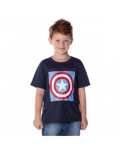 Camiseta de 4 a 10 Anos Capitão América Marvel Cinza Escuro