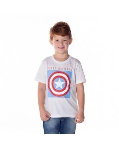Camiseta de 4 a 10 Anos Capitão América Marvel Branco