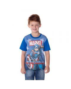 Camiseta de 4 a 10 Anos Captain América Marvel Azul