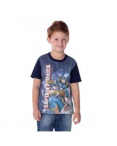 Camiseta de 4 a 10 Anos Malha Capitão América Marvel Marinho
