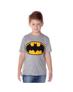 Camiseta de 4 a 10 Anos Meia Malha Batman DC Comics Cinza.Mescla