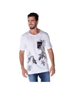 Camiseta de Algodão Estampada Marc Alain Branco