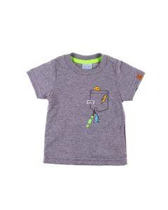 Camiseta de Bebê com Estampa Divertida Yoyo Baby Mescla Cinza
