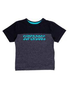 Camiseta de Bebê com Recorte e Escrita Alakazoo Preto