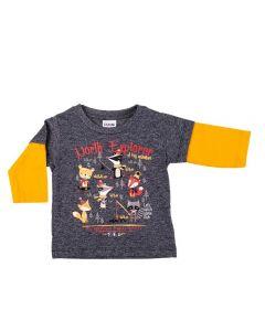 Camiseta de Bebê Maga Longa Fakini Chumbo