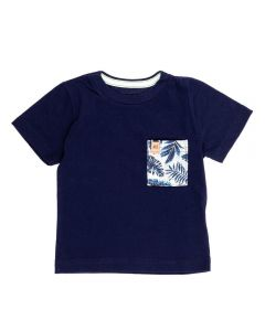 Camiseta de Bebê Malha Penteada com Bolso Alakazoo Marinho