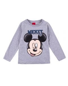 Camiseta Manga Longa 1 a 3 Anos Mickey Disney Mescla