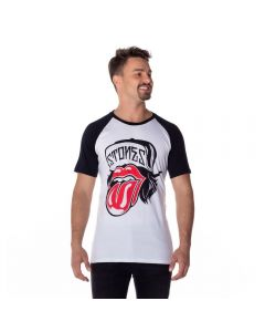 Camiseta Raglan Rolling Stones Bandas Branco