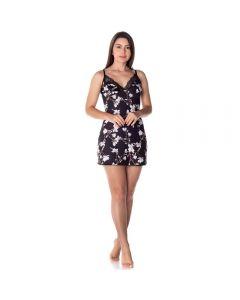 Camisola Floral com Renda Camila Moretti Preto/Branco