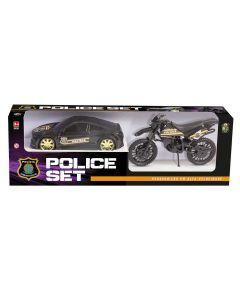 Carro com Moto Polícia Set 306 Bs Toys - Preto