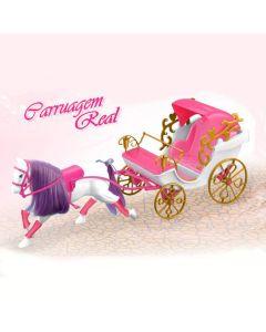 Carruagem Real para Bonecas Princesas Líder Brinquedos - Rosa