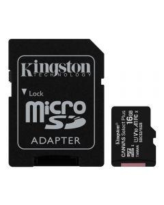 Cartão De Memória 16Gb Microsd Com Adaptador Kingston - Preto