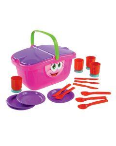 Cesta de Picnic Infantil com 20 Acessórios Dismat - Rosa